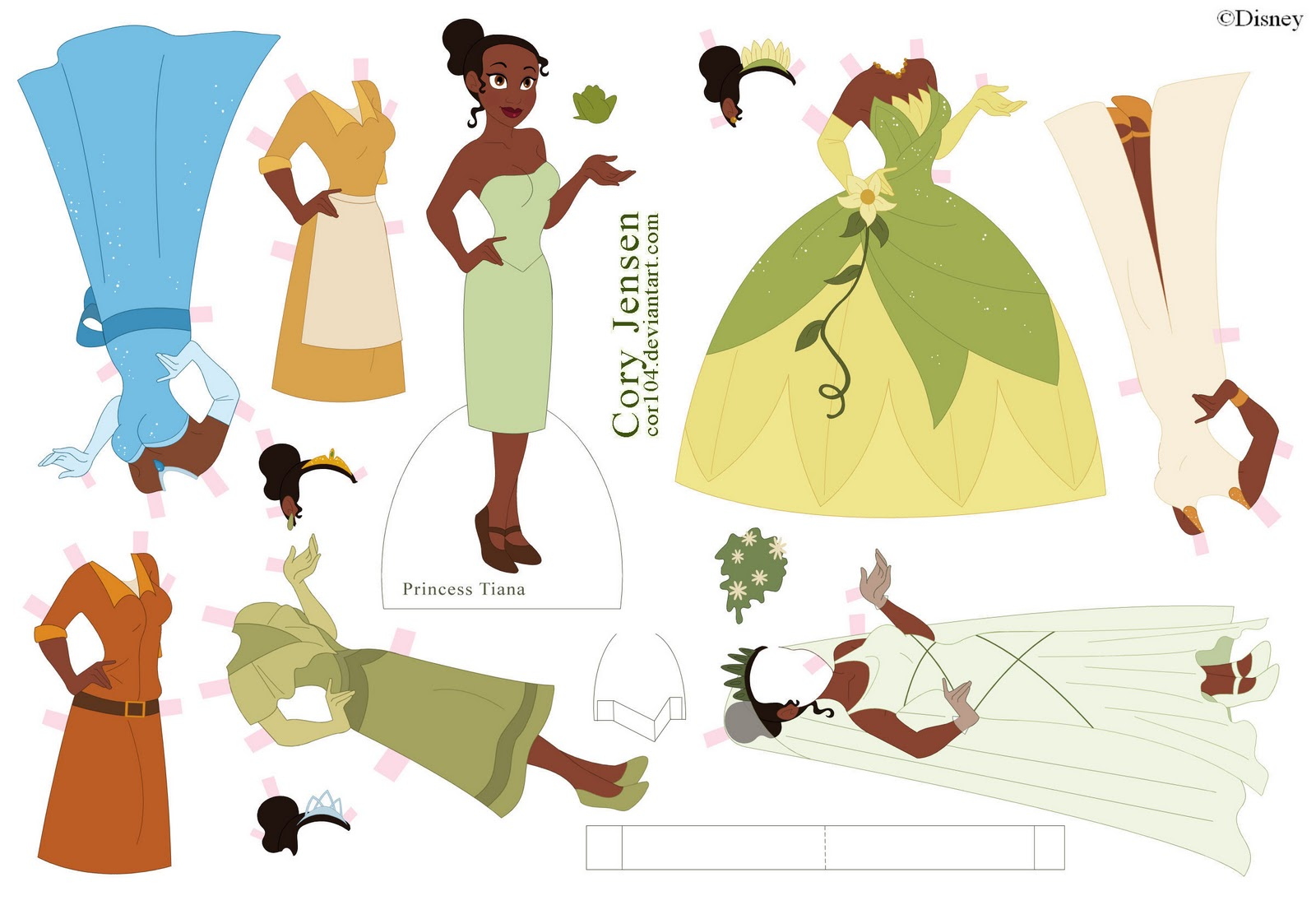 princess tiana paper doll craft. Black Bedroom Furniture Sets. Home Design Ideas