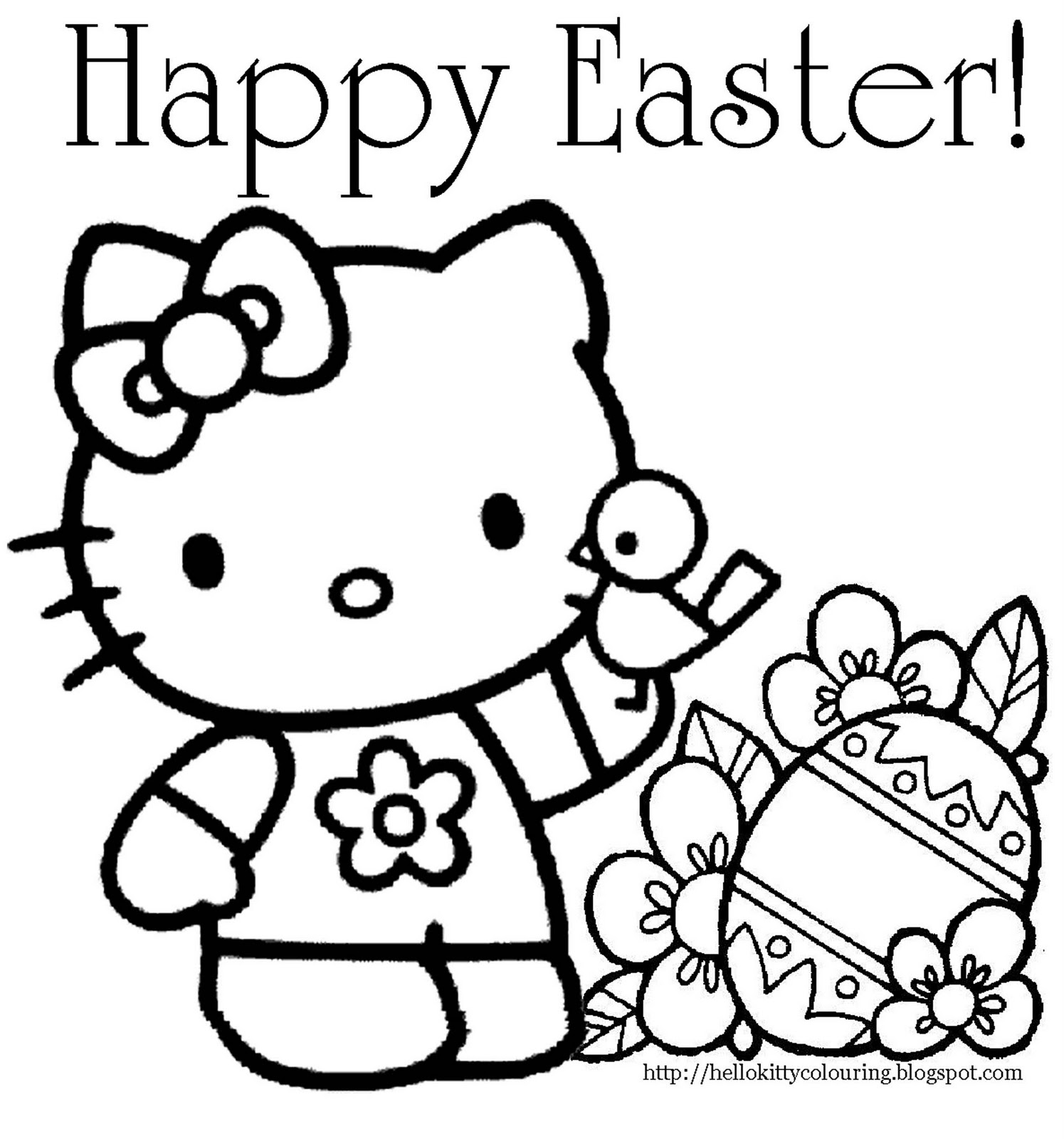 a coloring pages of hello kitty | Interactive Magazine: HELLO KITTY EASTER COLORING PAGE
