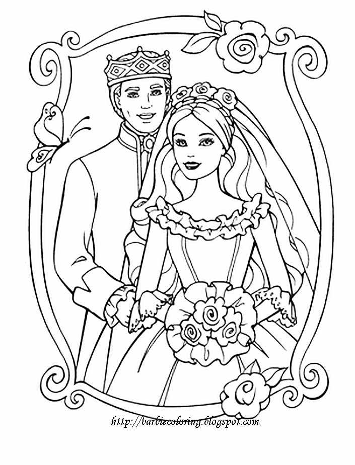 barbie wedding coloring pages - photo#2