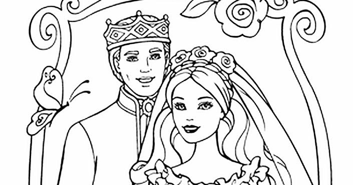 barbie wedding coloring pages - photo#16