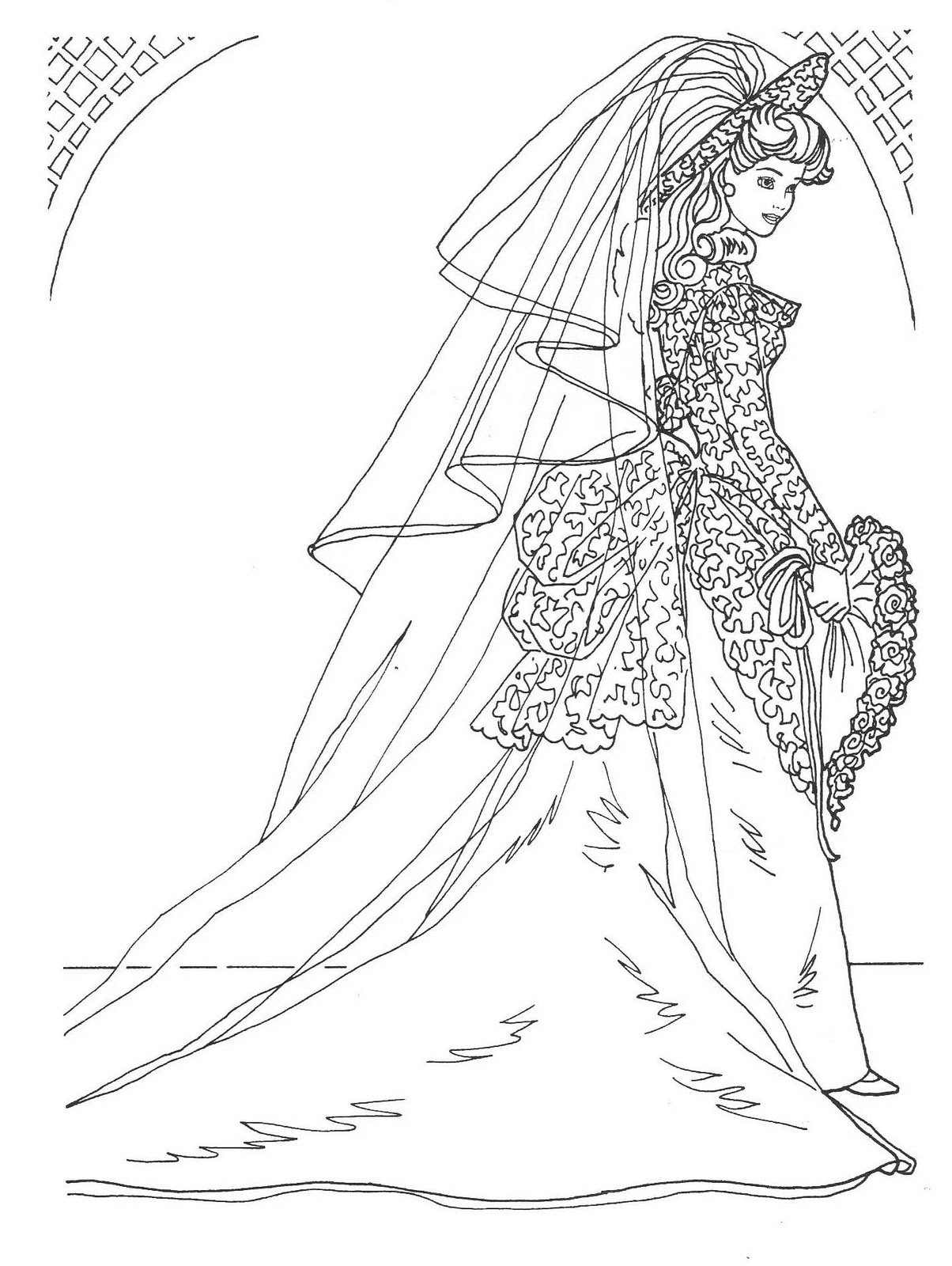 BARBIE COLORING PAGES: WEDDING DAY BARBIE IN BRIDAL GOWN