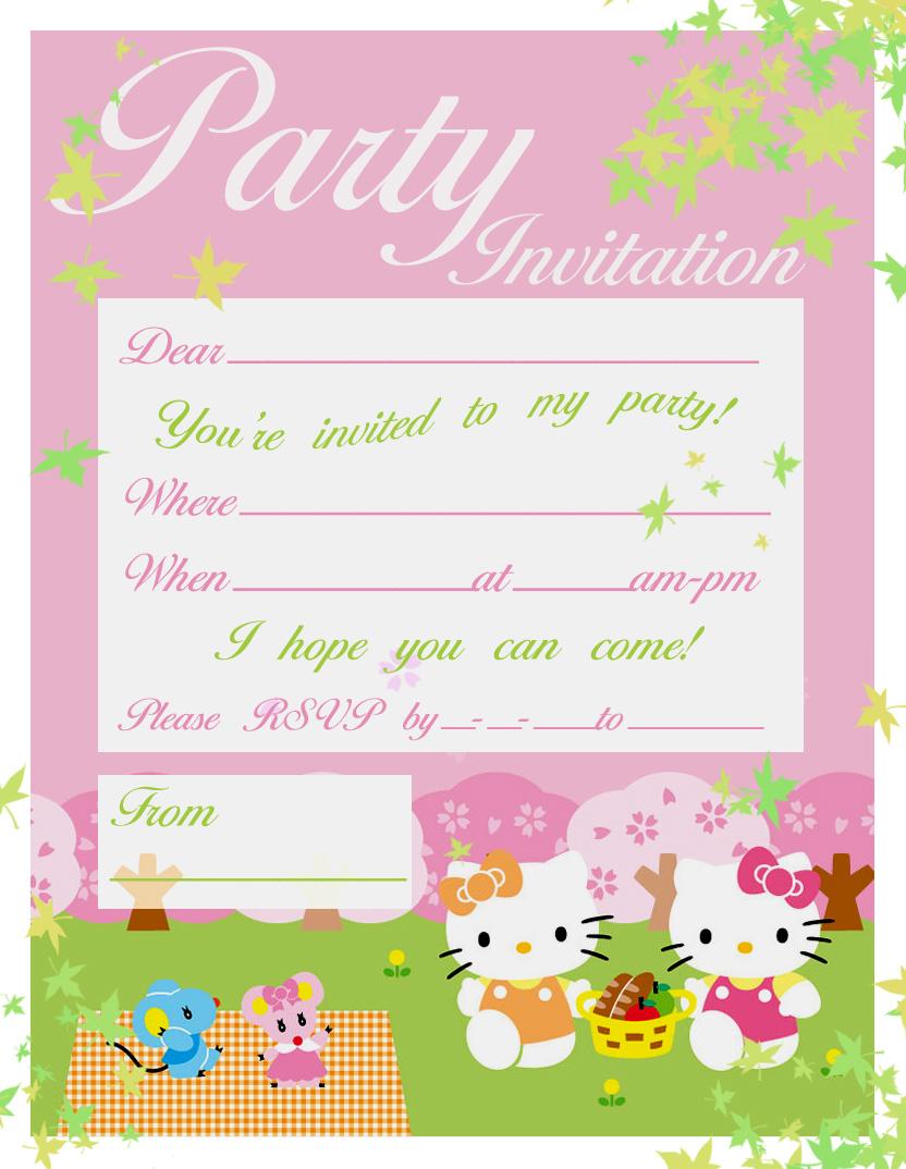 hello kitty birthday party invites