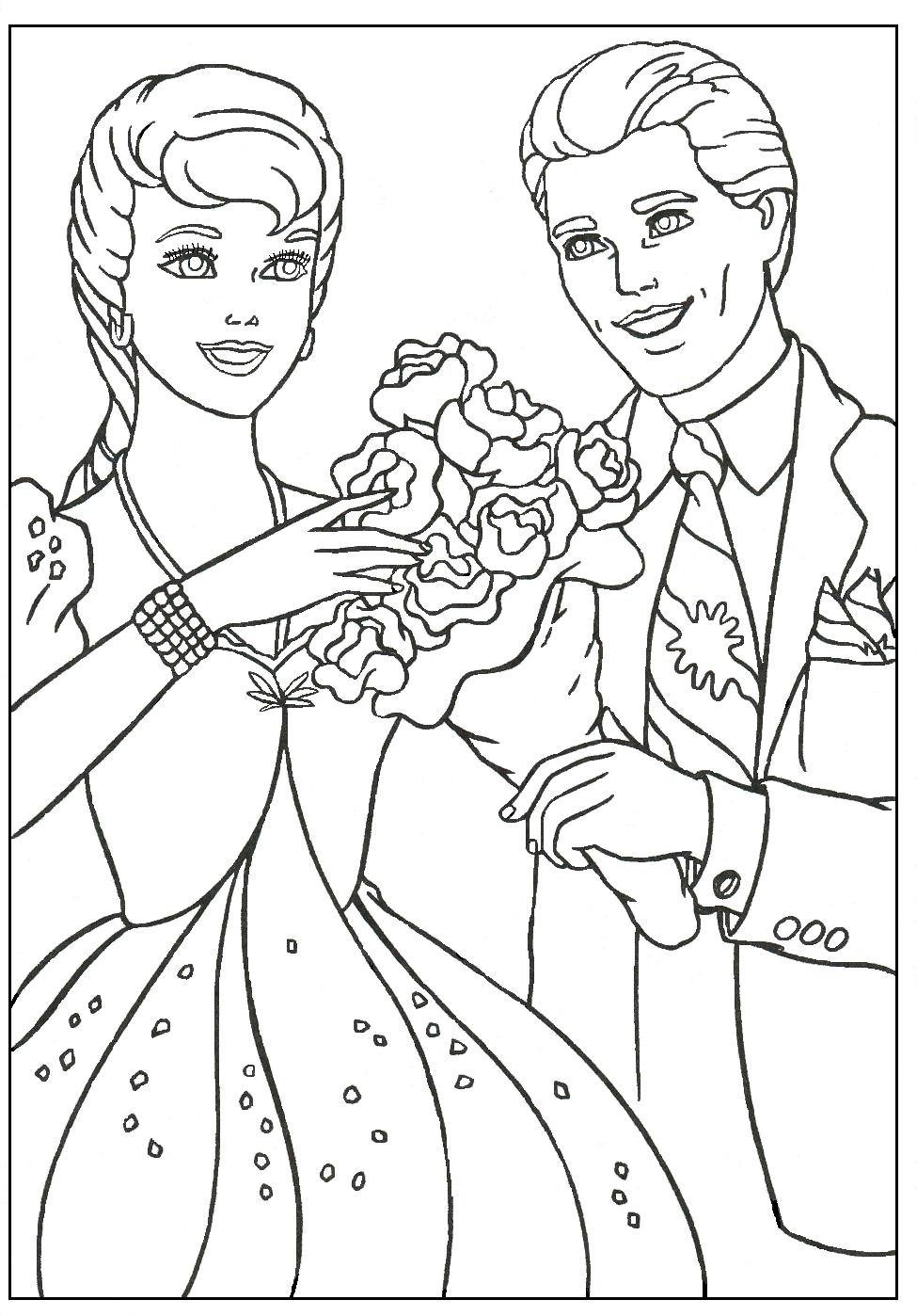 BARBIE COLORING PAGES: KEN AND BARBIE