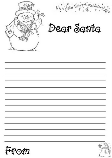 Xmas coloring pages for Dear santa template kindergarten letter