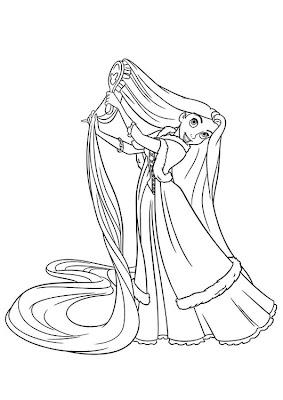 Desenhos para pintar PRINCESA RAPUNZEL preto e branco