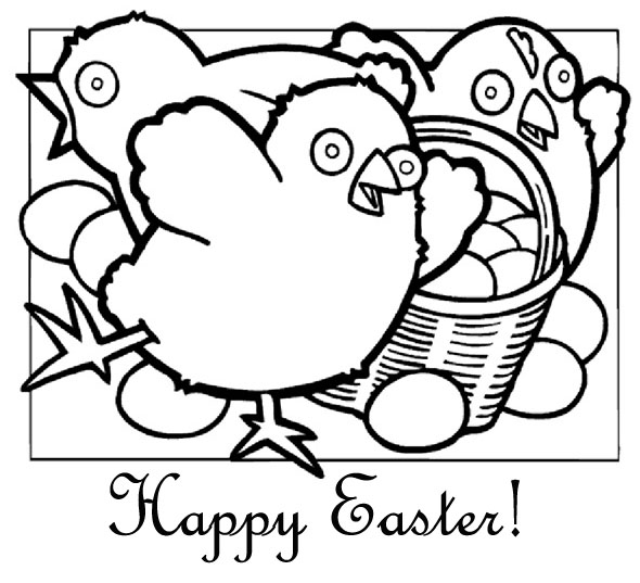 easter colouring happy easter chicks colouring page