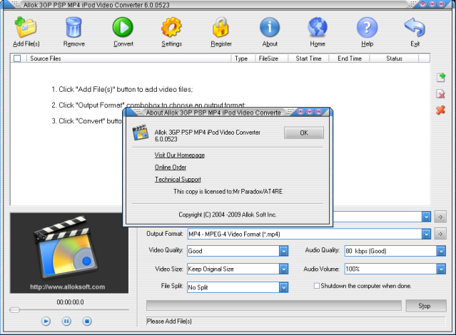 ALLOK VIDEO MP4 TÉLÉCHARGER CONVERTER PSP 3GP 6.2.0603 IPOD