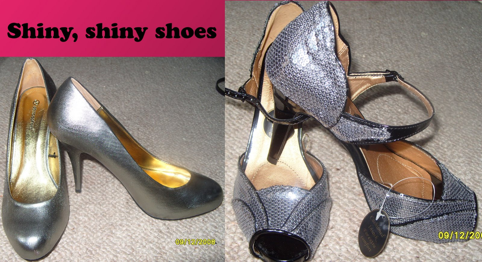 broze courts sequin vintage shoes