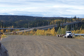 Yukon River bridge and pipeline on haul road