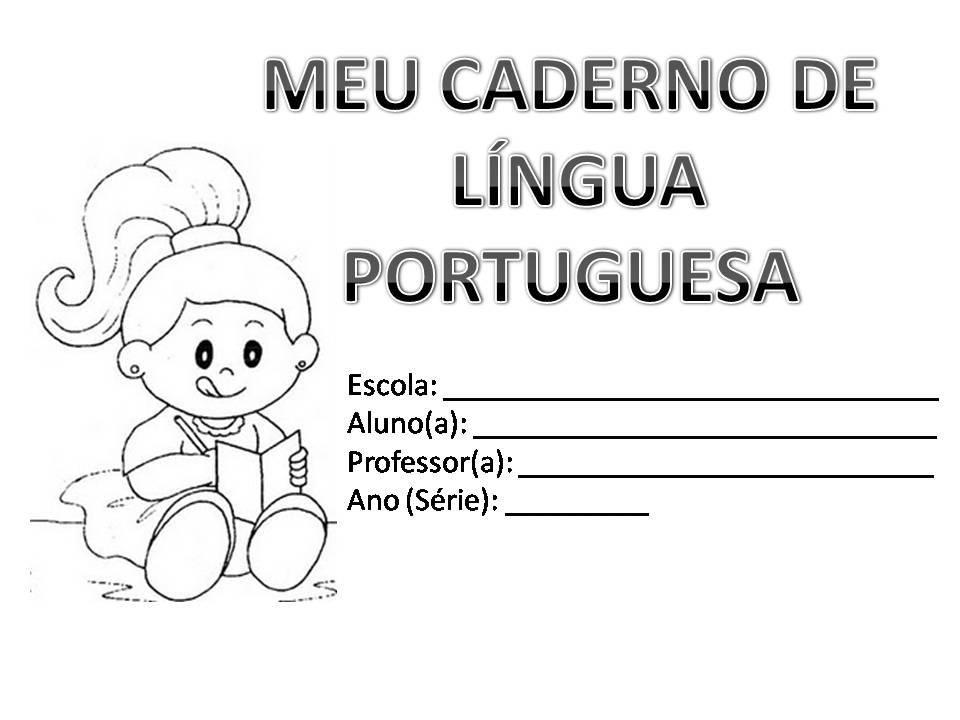 Capa Caderno De Lingua Portuguesa Infantil Desenhos Para Colorir