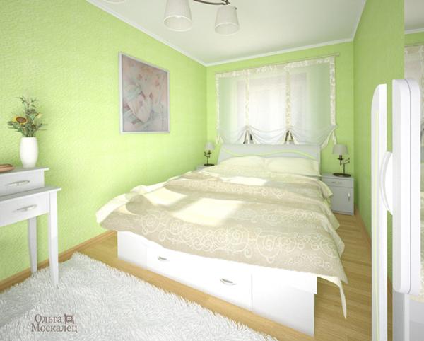 Olgamoskalets батик в интерьере спальни хрущевки