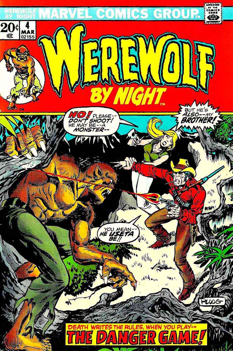 Werewolf by Night v1 #4 1970s marvel comic book cover art by Mike Ploog