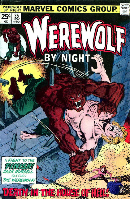 Werewolf by Night v1 #35 1970s marvel comic book cover art by Bernie Wrightson, Jim Starlin