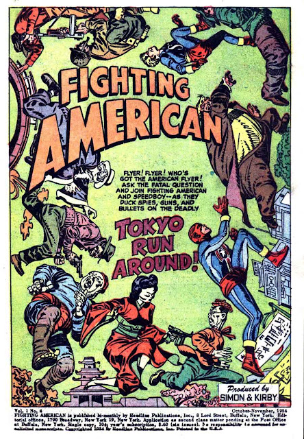 Fighting American v1 #4 harvey comic book page art by Jack Kirby
