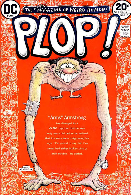 Plop v1 #1, 1973 dc bronze age comic book cover art by Basil Wolverton