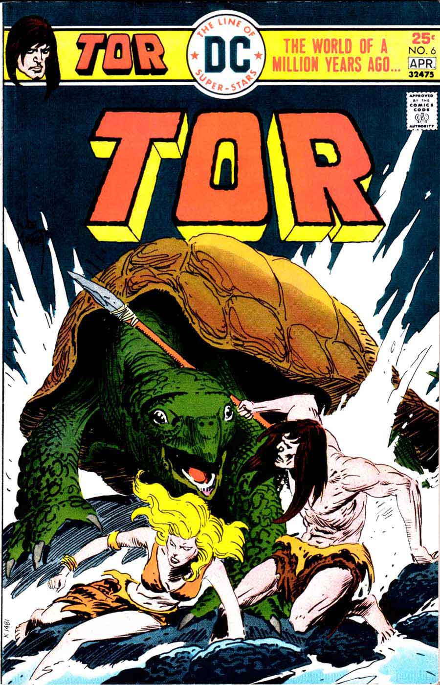 Tor v2 #6 dc bronze age comic book cover art by Joe Kubert