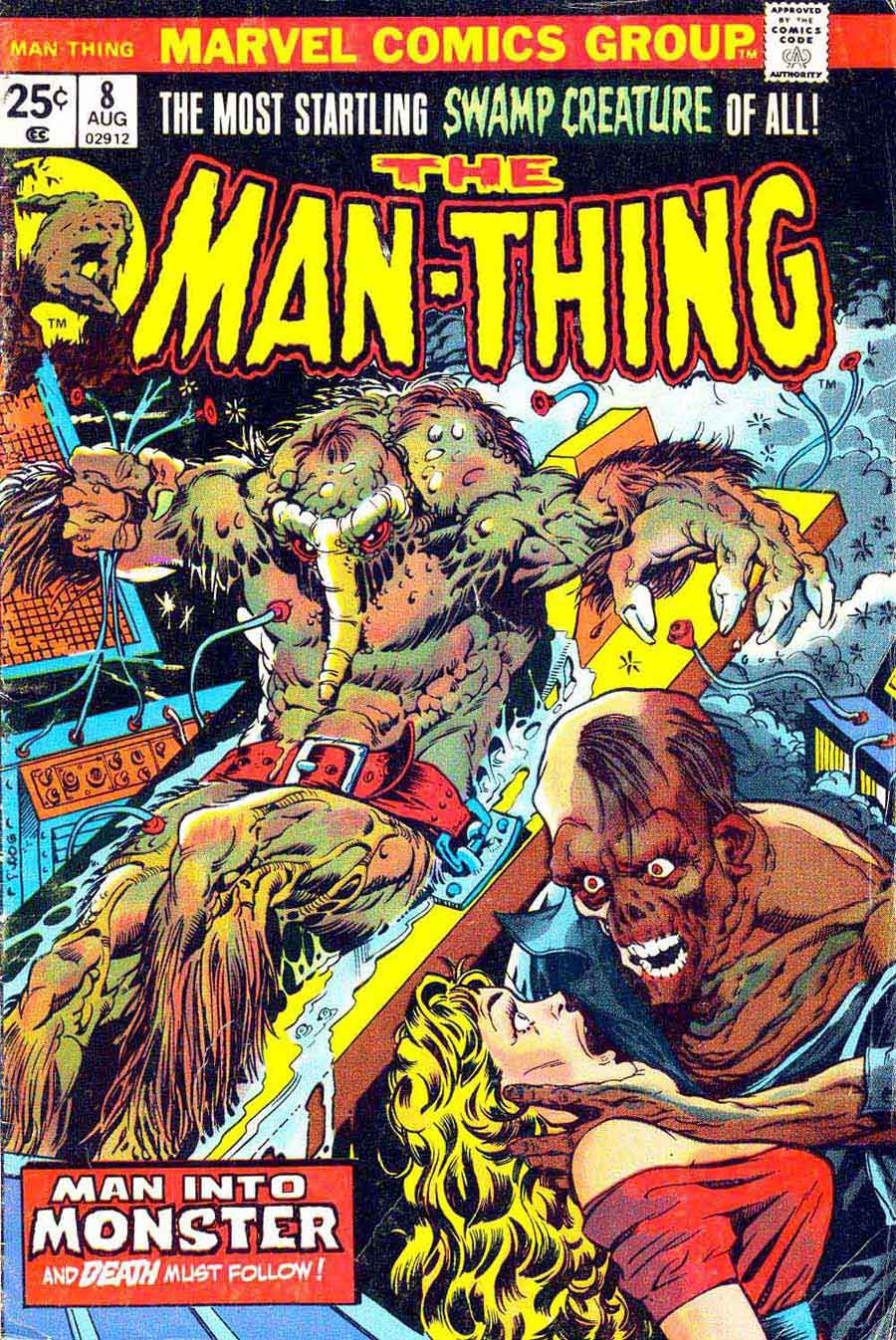 Man-Thing v1 #8 marvel 1970s bronze age comic book cover art by Mike Ploog