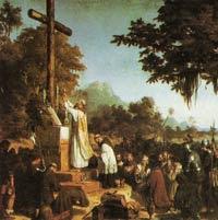 misioneros celebrando la misa con indígenas
