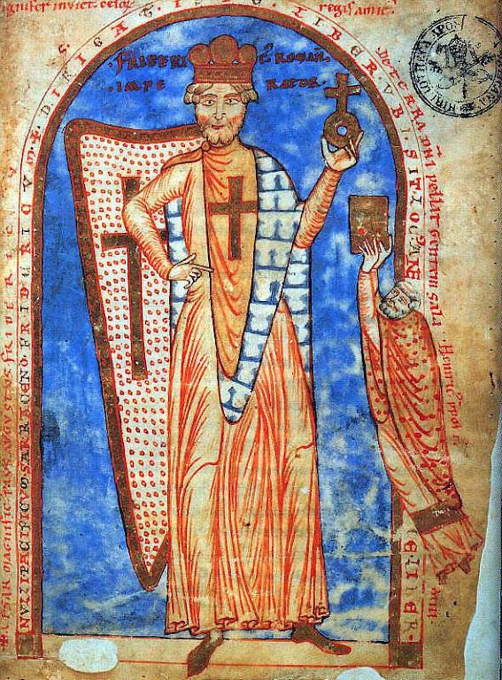O imperador Frederico Barba-roxa (1122 – 1190). Iluminura de 1188, Biblioteca Vaticana.
