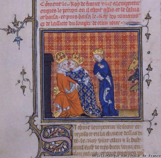 Carlos Magno é beijado pelo seu filho Luis, o Piedoso
