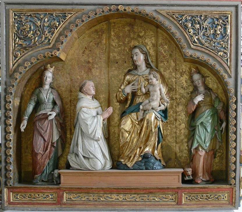 São Bernardo de Claraval ajoelhado diante de Nossa Senhora