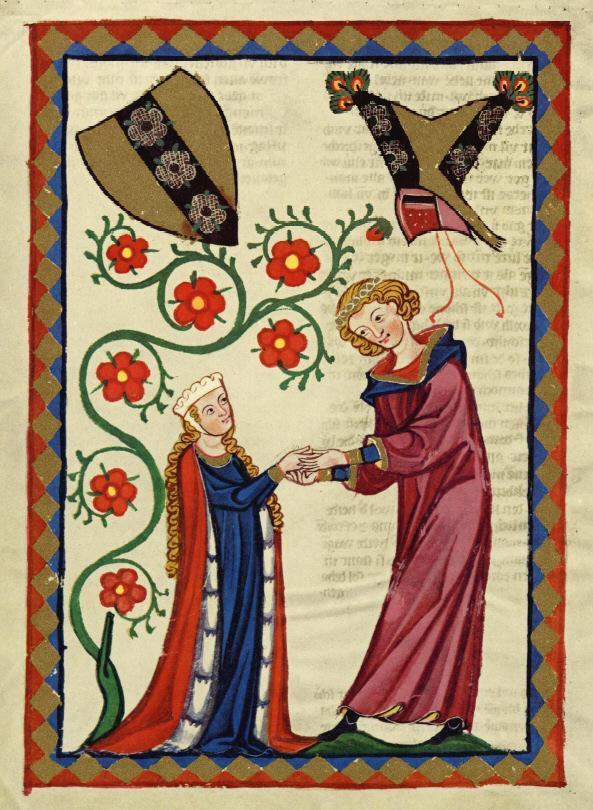 Brunwart von Augheim e esposa, Codex Manesse