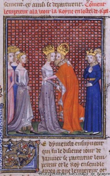 O imperador Carlos IV recebe a rainha e esposa de Carlos V