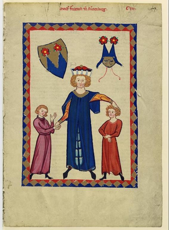 Frederico de Sonneburg e seus filhos. Codex Manesse, fol. 407r.