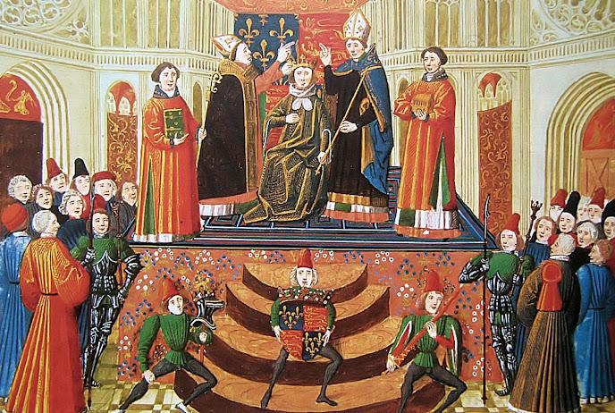 Equilíbrio entre a esfera temporal e espiritual: bispos abençoam o rei