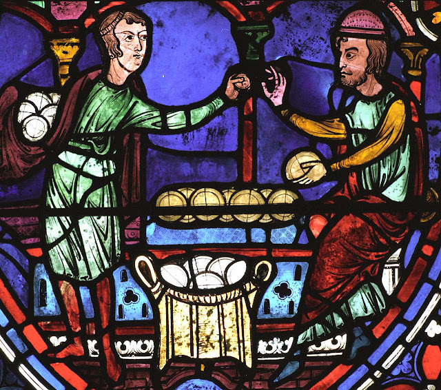 Comércio. Catedral de Chartres, vitral dos Apóstolos