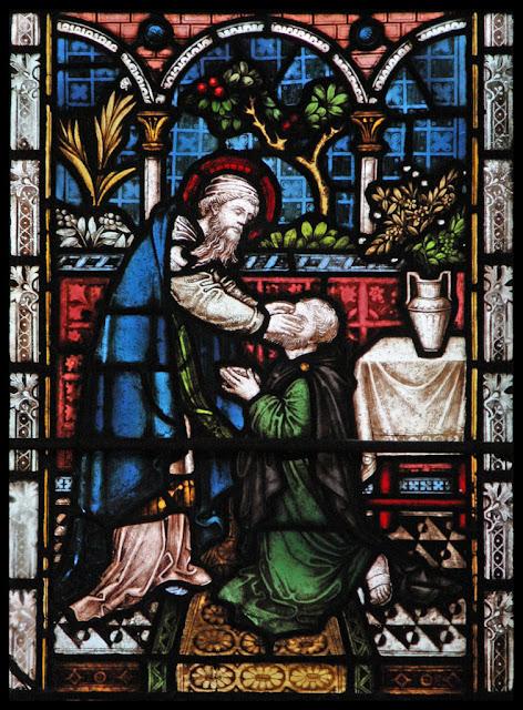 Ananias pondo as mãos sobre Paulo lhe devolve a vista.