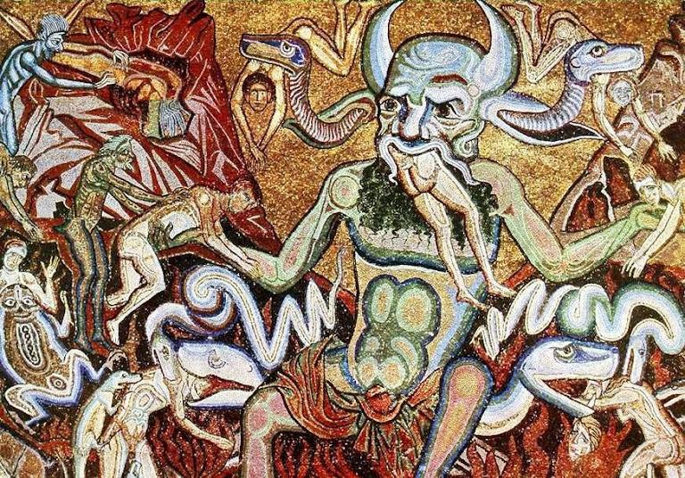 Diabo mascando precitos. Coppo di Marcovaldo, batistero da catedral de Florença.
