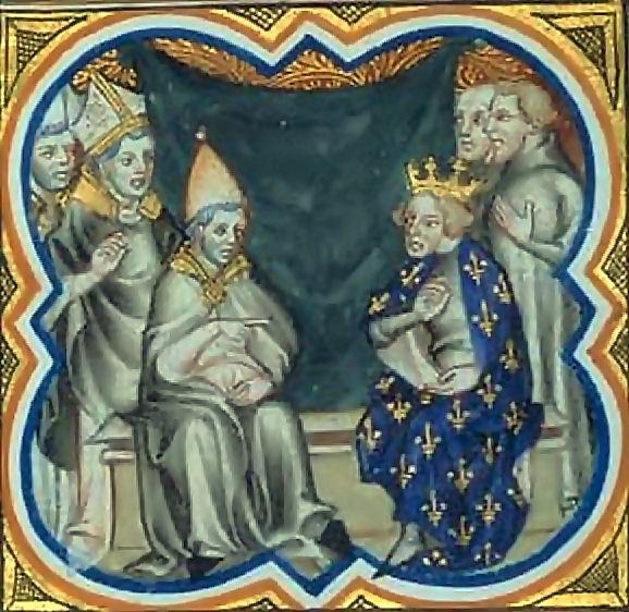 O Papa Pascoal II com o rei da Franca Felipe I, em 1107.