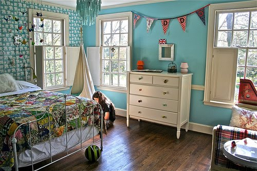 Girl - Vintage Girl Room Ideas's Room: Aqua Blue & Red - Design Dazzle