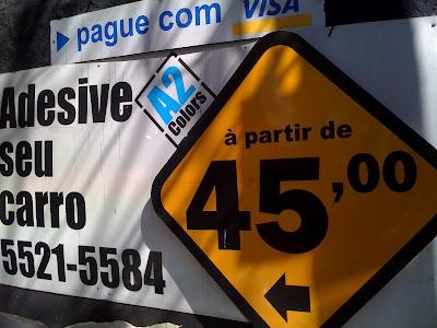 A partir de R$ 45,00 com crase