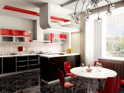 Modern red and white feng shui kitchen design