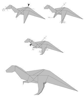 Dinosaur Origami Pteranodon Illustrations