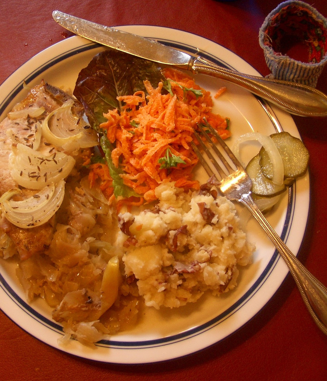 Thrift At Home: Sunday Dinner: German Pork Chops (and A
