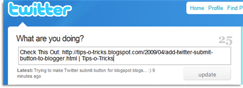 twitter submit button for blogspot