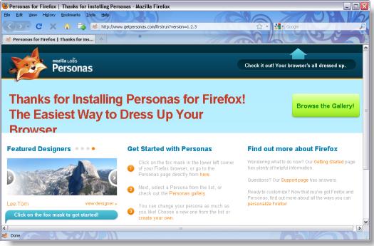Personas for Firefox First Run screenshot
