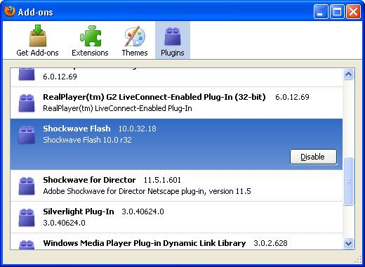 Firefox Installed Plugins list