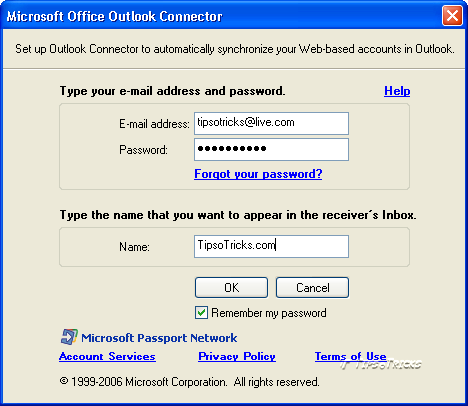 Adding windows Live hotmail account through outlook connector