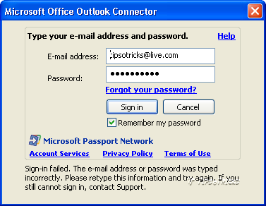 automatically Logging in Outlook through outlook connector