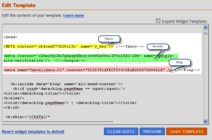 Adding meta tags of Search Engines to your blogger blog