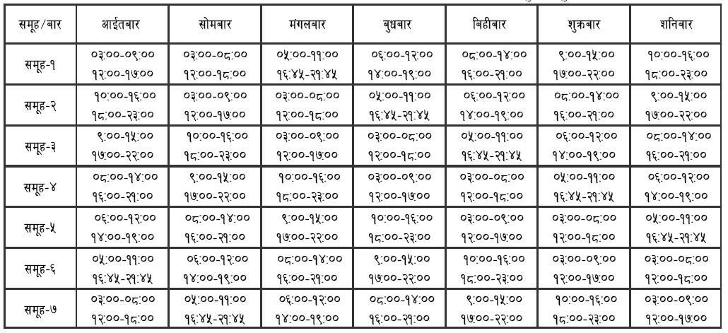Load Shedding Schedule 2019 Picture: Load Shedding Schedule Kathmandu, Nepal 28th January 2010