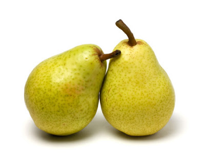 Two Pears side by side ready for Warm Pear Cobbler by Renee's Kitchen Adventures
