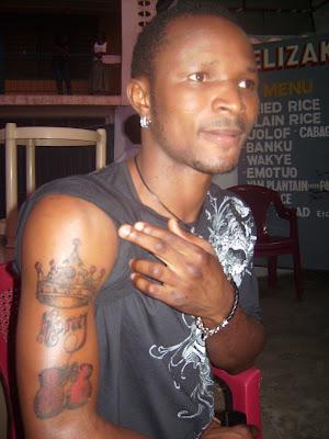 IBF Bantamweight champion Joseph 'King Kong' Agbeko, notice the tattoo on