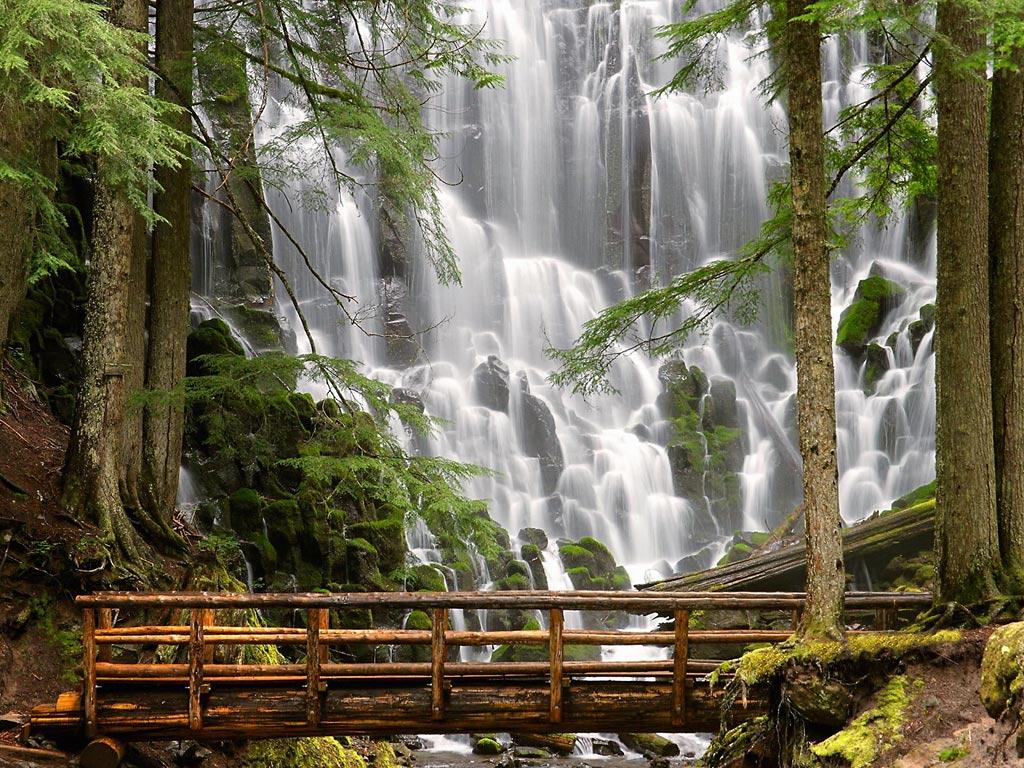 fresh nature wallpapers  beautiful waterfall bridge wallpaper