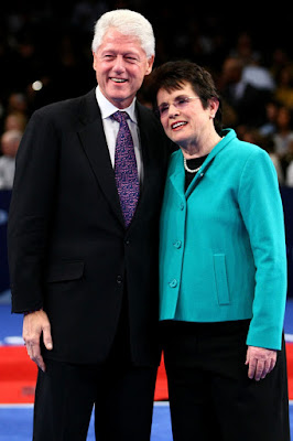 Black Tennis Pro's Former President Bill Clinton and Billie Jean King Billie Jean King Cup