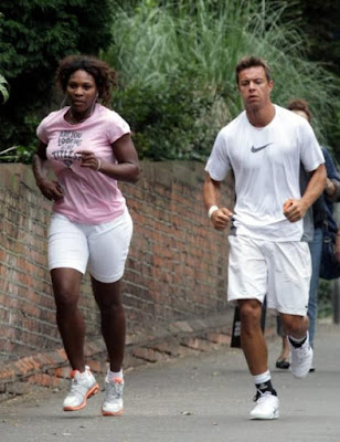 Black Tennis Pro's Serena Williams jogging in London before 2009 Wimbledon